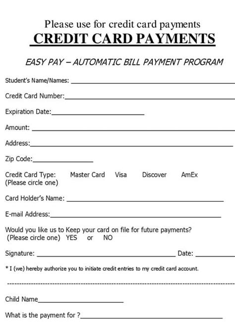 Automatic Credit Card Payment Authorization Form Template by 5 Credit Card Form Templates Formats Exles In Word Excel