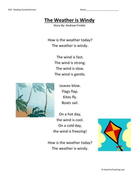 themes in reading comprehension the weather is windy teaching reading comprehension