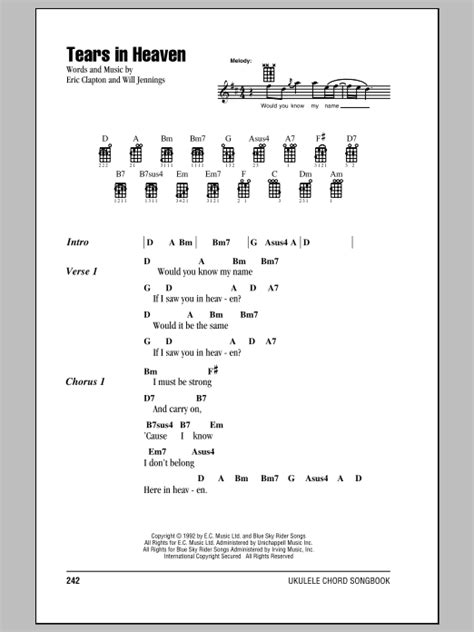 strumming pattern for line to heaven tears in heaven sheet music by eric clapton ukulele with