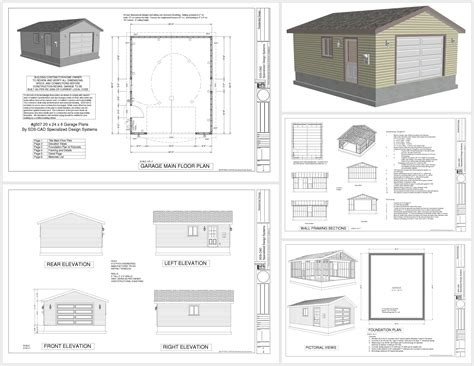 garage workshop plans g507 20 x 24 x 8 garage plans sds plans