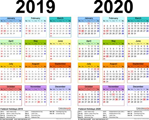 year calendar template 2019 2020 calendar free printable two year pdf calendars