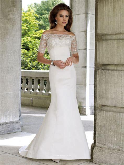 Wedding Dress Jackets Uk by Two Satin Strapless Mermaid Wedding Dress Uk With