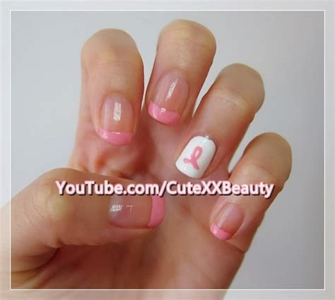 Nail Art Ribbon Design Tutorial | cotton candy blog breast cancer awareness nail art