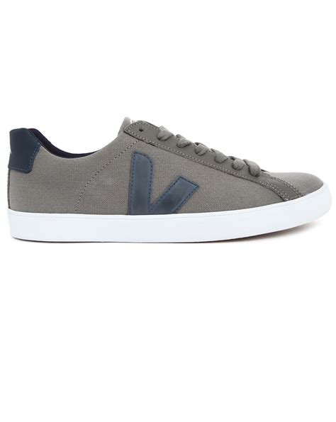 veja shoes veja esplar grey canvas sneakers in gray for grey lyst
