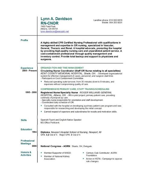 resume templates for nurses registered resume