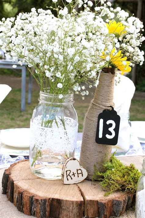 Elegant country wedding   table centerpieces (mason jar