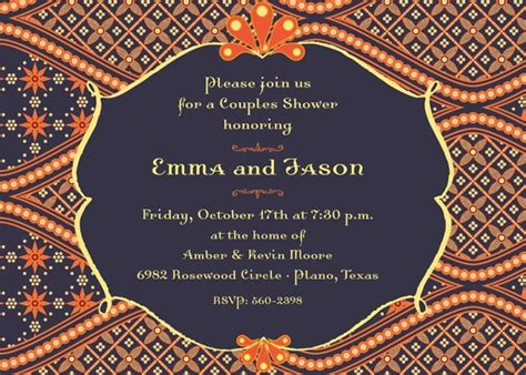 Navy And Orange Boho Morocco Printable Bridal Shower Invitation Couples Shower Mehndi Invite Moroccan Invitations Templates