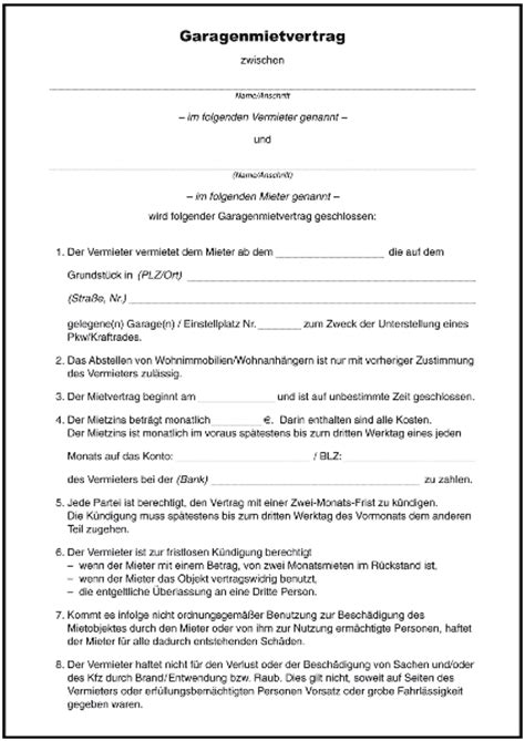 Muster Garagenmietvertrag Word Mietvertrag Garage Formulare Gratis