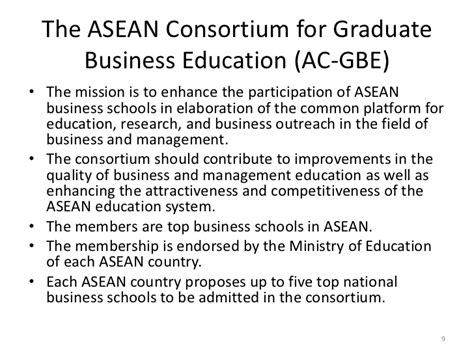 The Consortium Mba Schools by The Asean Consortium For Graduate Business Education