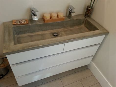 Concrete Countertops Bathroom Vanity Bathroom Vanity Concrete Countertop With Rectangular Intergral Sink Modern Bathroom Sinks