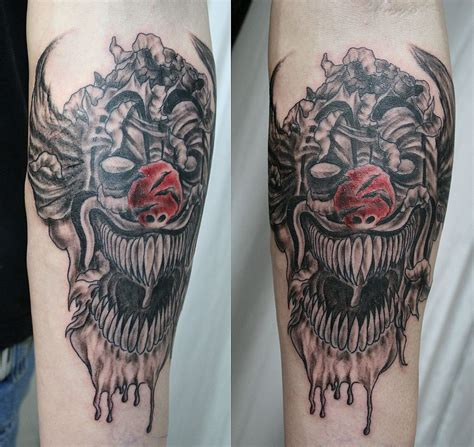 evil clown tattoos 1990tattoos joker clown tattoos