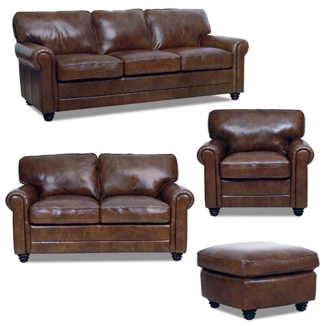 New Luke Leather Italian Brown Down Sofa Set Sofa Loveseat Leather Sofas Sets
