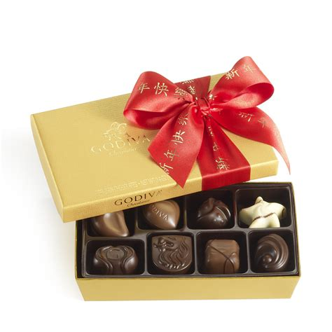new year gifts assorted chocolate gold gift box new year ribbon