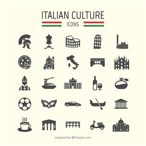 free italiano italian culture icons vector free