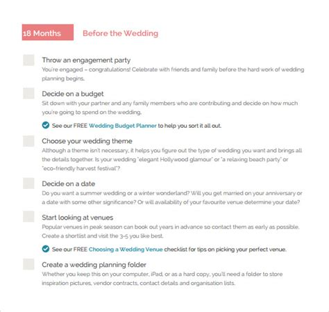 sle wedding checklist 12 documents in pdf word