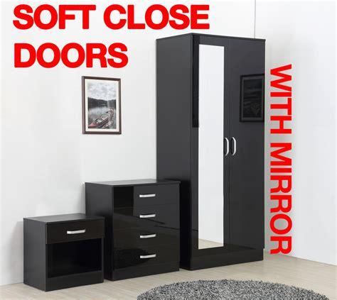 black mirrored high gloss 3 bedroom furniture set