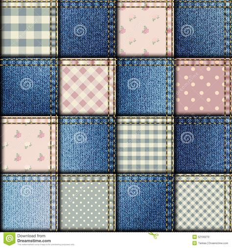 Denim Patchwork Fabric - patchwork of denim fabric stock vector image 52100270