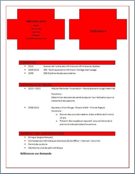 Modèle Lettre De Recommandation Infirmière Resume Format Mod 232 Le De Cv Infirmier Gratuit