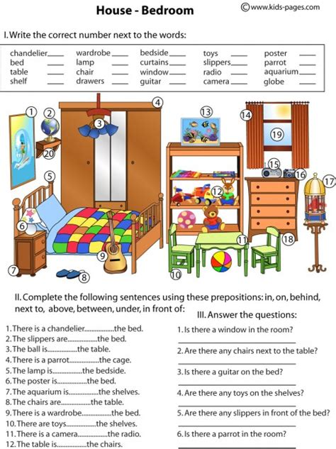 the bedroom place bedroom and prepositions worksheet