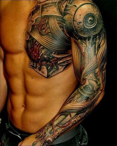 tattoo chest half half robot heart chest tattoo google search clothes