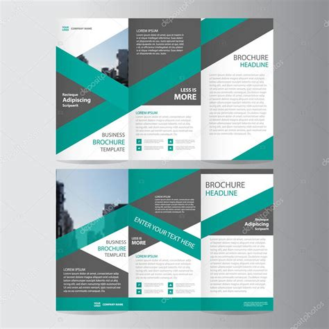 leaflet design layout green trifold annual report leaflet brochure flyer