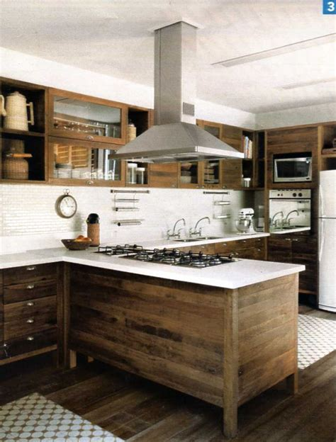 Metal Island Kitchen modern kitchen with raw wood cabinets white back splash