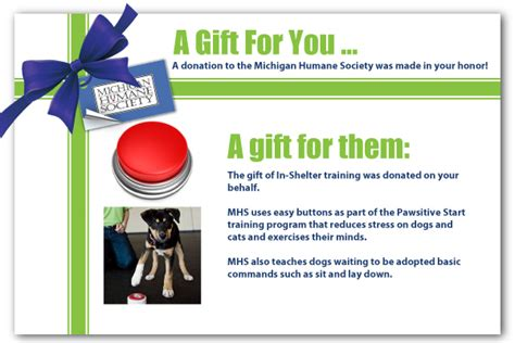 Michigan Humane Society A Donation Has Been Made In Your Honor Template