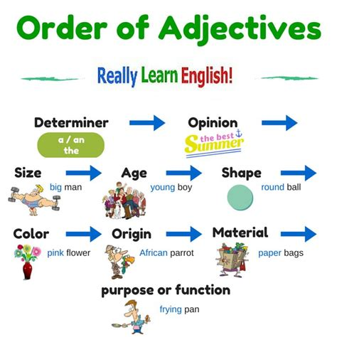 esl order of adjectives worksheet order of adjectives teaching and learning vocabulary grammar stories
