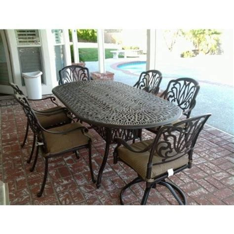 Powder Coated Aluminum Patio Furniture Elizabeth Cast Aluminum Powder Coated 7pc Outdoor Patio Dining Set With 42 Quot X 72 Quot Oval Table