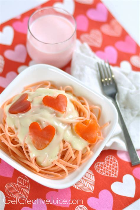 valentines day dinner idea pink pasta red pepper hearts creative juice