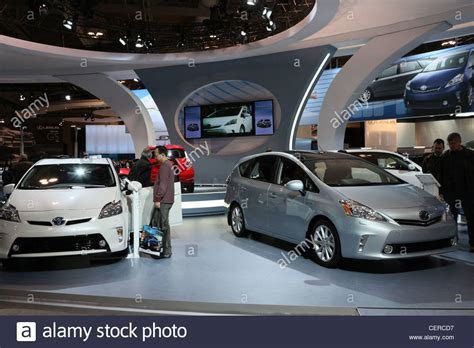toyota car showroom toyota prius electric hybrid car cars showroom stock photo