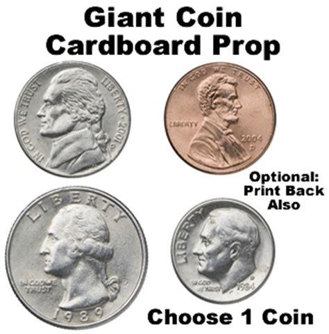 printable large quarter giant coin cardboard cutout prop dino rentos studios inc