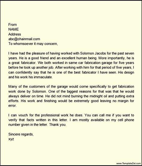 Support Letter For A Family Member Personal Letter Of Recommendation For A Family Member Templatezet