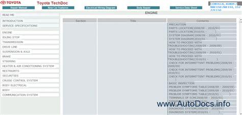 toyota auris corolla 2008 repair manuals download toyota corolla auris service manual 2008 2010 petrol modles repair manual order download