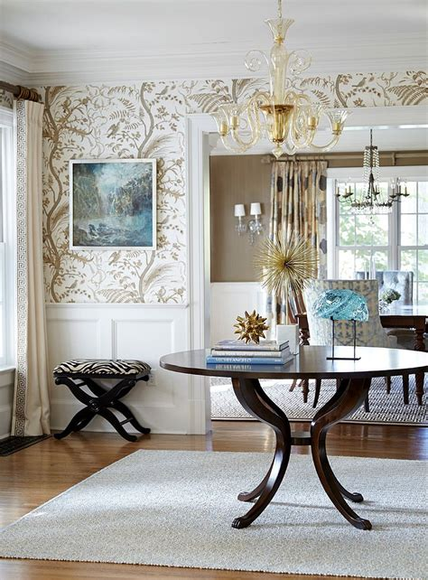 entry room table 25 gorgeous entryways clad in wallpaper