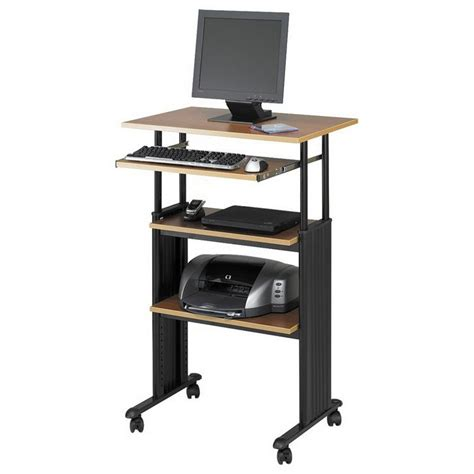 adjustable wood standing desk tall narrow computer desk with shelves standing adjustable