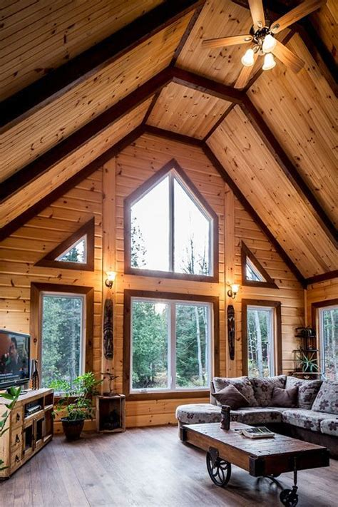 log home interior design ideas using different stain colors on your log home interior