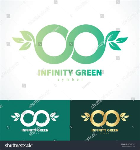 infinity card template green infinity leaf symbol icon vector stock vector
