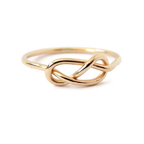 solid gold infinity knot ring 14k gold ring yellow or