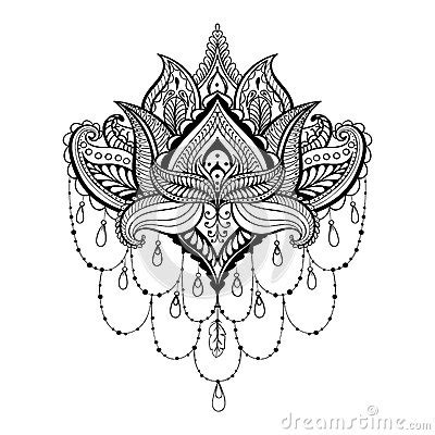 vector ornamental lotus ethnic zentangled henna tattoo