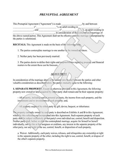 antenuptial contract template prenup form w prenuptial agreement sle template