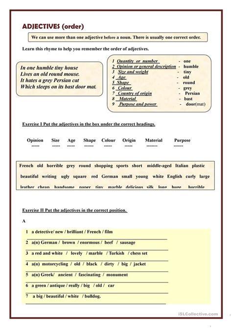 esl order of adjectives worksheet 20 free esl adjectives order of adjectives worksheets