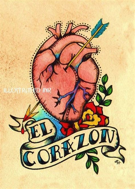 vintage heart tattoo designs school la mano and el corazon loteria 5 x 7