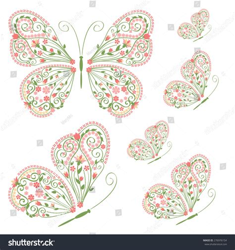 Decorative Butterflies With by Set Of Decorative Butterflies With Floral Ornament
