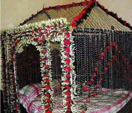 Beautiful bridal wedding room decoration masehri designs with flowers