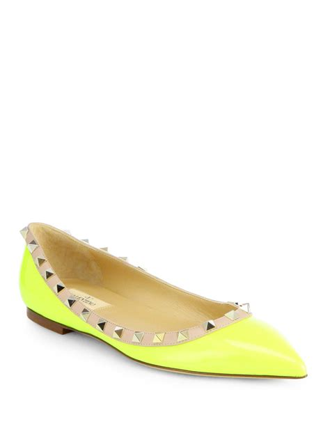 neon yellow flat shoes valentino rockstud patent leather ballet flats in yellow