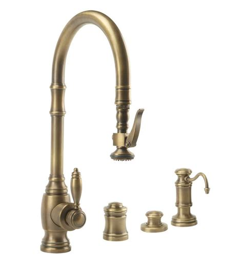 waterstone 5600 4 ab antique brass annapolis kitchen faucet single handle with pullout spray