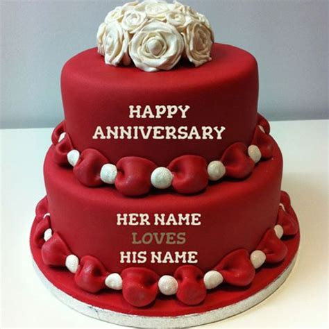 Wedding Anniversary Wishes Editing by Write Name On Happy Anniversary Cakes Free Wishes
