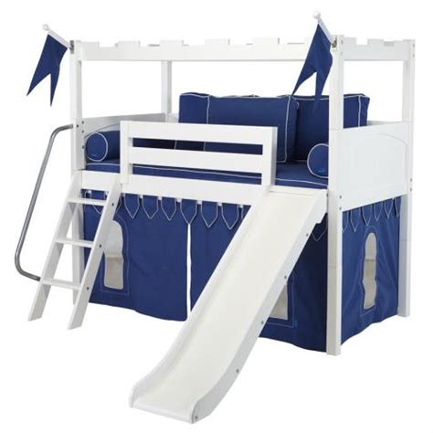 beds with slides white camelot castle low loft bed with slide by maxtrix