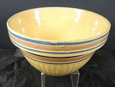 antique yellow ware ribbed mixing bowl pink blue bands